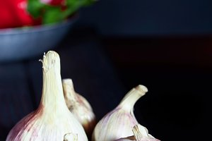 Fragrant garlic on a black table
