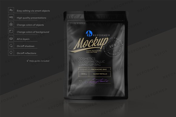 Free GLOSSY BLACK STAND-UP BAG MOCKUP