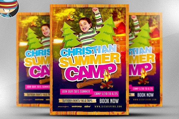 Christian Summer Camp Flyer Template Flyer Templates Creative Market