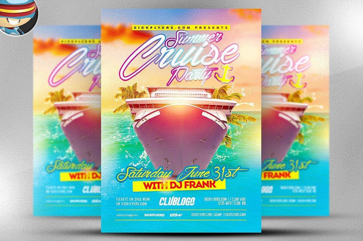 Summer Cruise Party Flyer Template Flyer Templates Creative Market