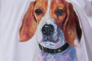 Acrylic painting of beagle on fabric