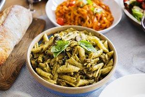 Closeup of homemade Italian food