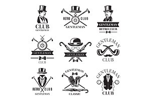 Retro badges or labels set for gentleman club. Logos design template with place for your text