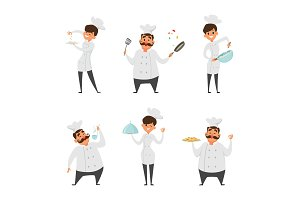 Illustrations of male and female professional chef in action poses
