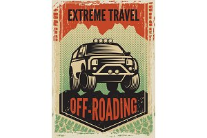 Design template of poster in retro style with suv big car. Off road machine