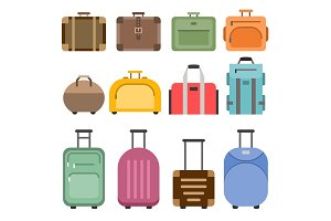 Handbags and suitcases. Vector pictures set isolate on white
