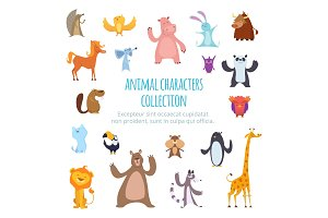 Vector background pictures with different cartoon animals