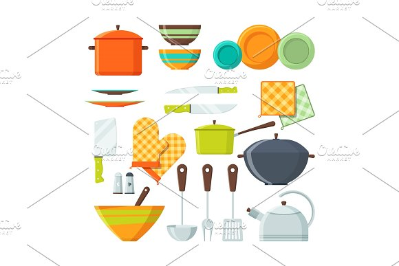 Bowl Fork And Other Kitchen Tools In Cartoon Style