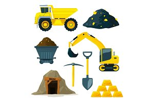 Illustrations of mining industry at different minerals, gold and diamonds