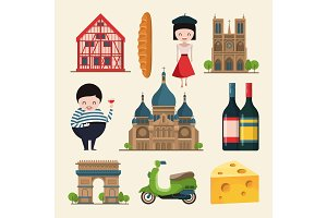 French landmarks. Vector illustrations in cartoon style