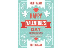 Poster template for valentines day. Background illustrations of love symbols