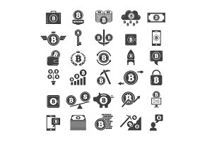 Monochrome symbols of virtual money. Electronic blockchain industry. Web wallets and other icons of crypto business