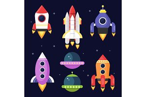 Illustrations of space with shuttles. Vector pictures