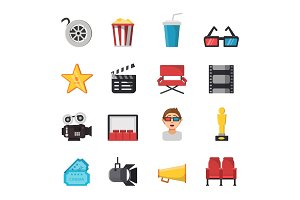Icon set of tv show and cinema symbols. Vector pictures of tickets, popcorn, camera and others illustrations