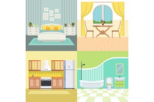 Set illustrations modern interior of living house