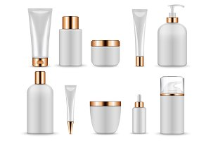 Plastic white blank bottles and tubes for cosmetics