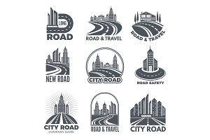 Logo designs with illustrations of roads and buildings