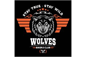 Wolf head for logo, american symbol, simple illustration, sport team emblem, design elements