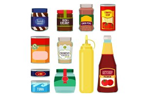 Illustrations of canned goods. Conservation of tomato, fish, vegetables and other foods