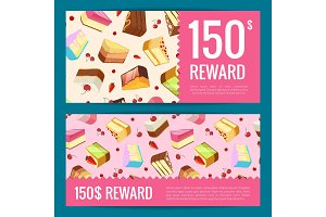 Vector gift cards, discounts or vouchers templates with cake pieces, cherries and strawberries on background