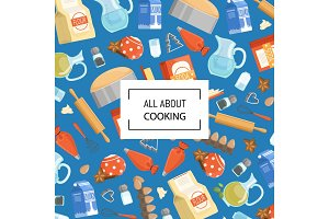 Vector cartoon cooking ingridients or groceries background with place for text