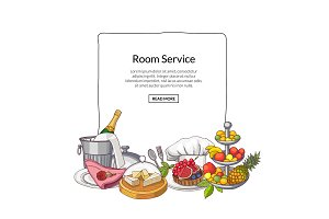 Vector hand drawn restaurant or room service elements gathered under frame with place for text