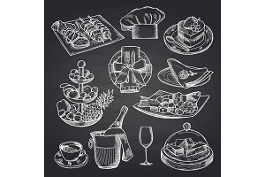 Vector hand drawn restaurant or room service elements on black chalkboard