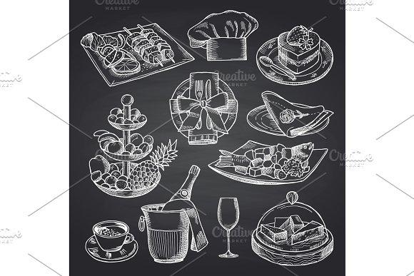 Vector Hand Drawn Restaurant Or Room Service Elements On Black Chalkboard