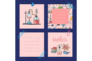 Vector notes templates set with sketched science or chemistry elements and cute lettering