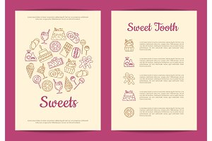 Vector card or flyer template for pastry or confectionary shop with linear style sweets icons