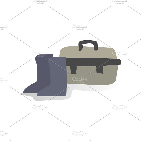 Illustration Of Shoes And Toolbox