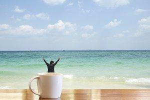 mug on the beach