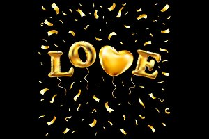 Heart gold foil glitter vector love