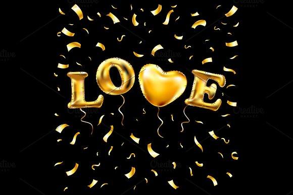 Heart gold foil glitter vector love