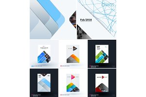 Mega set of abstract templates for business, trendy colourful mountains shapes