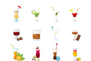 Multicolored cocktails icons set