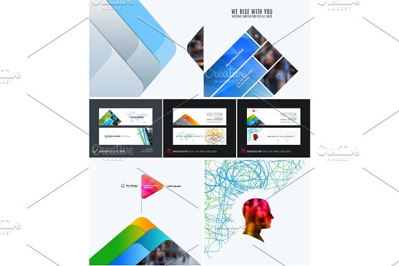 Mega Set Of Abstract Templates For Business Trendy Colourful Mountains Shapes