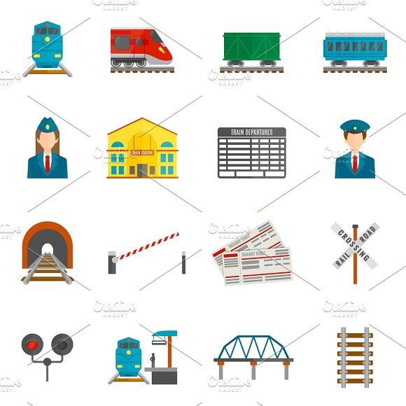 Railway Flat Icons Set