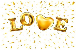 Heart gold glitter vector balloon
