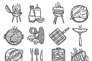 Bbq grill sketch decorative icons