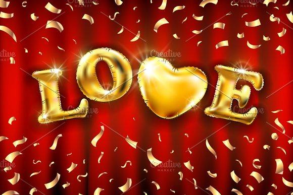 Love Heart Gold Confetti Balloon