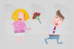 Man gifting a bouquet of roses.