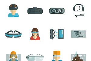 Virtual reality glasses icons set