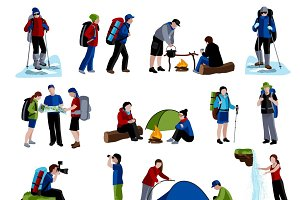 Camping and people icons set