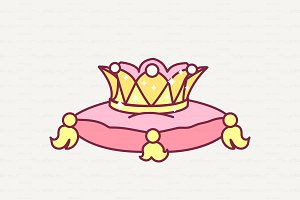 ♥ vector Royal crown on pillow