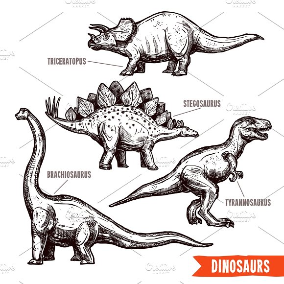 Hand drawn dinosaurs set in Illustrations