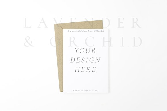 White Card With Kraft Envelope