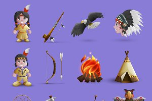 Native american cartoon icons set