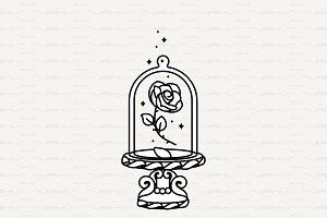 ♡ vector Cute rose under flask glass