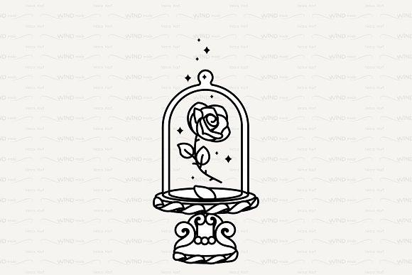 Vector Cute Rose Under Flask Glass